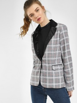 KOOVS Contrast Collar Checked Blazer