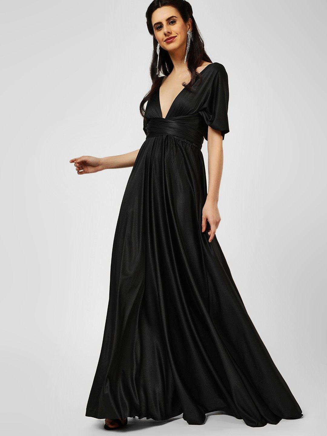 Origami Lily Black Infinity Wrap Maxi Dress 1