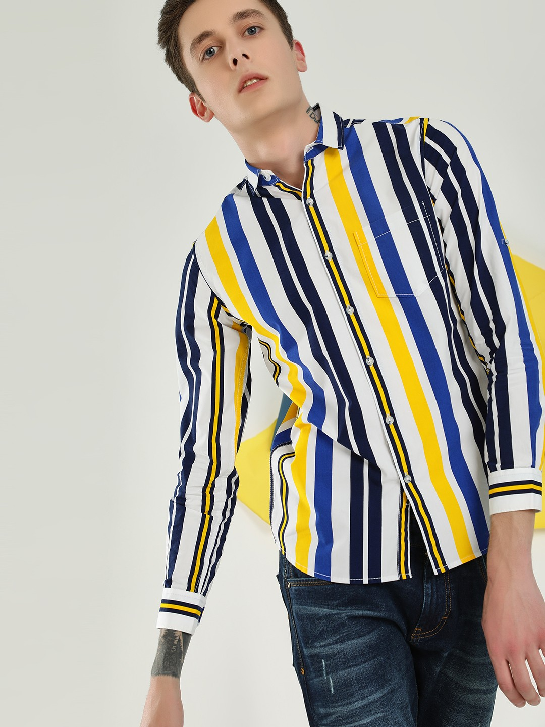 Vulcan White Striped Casual Shirt 1