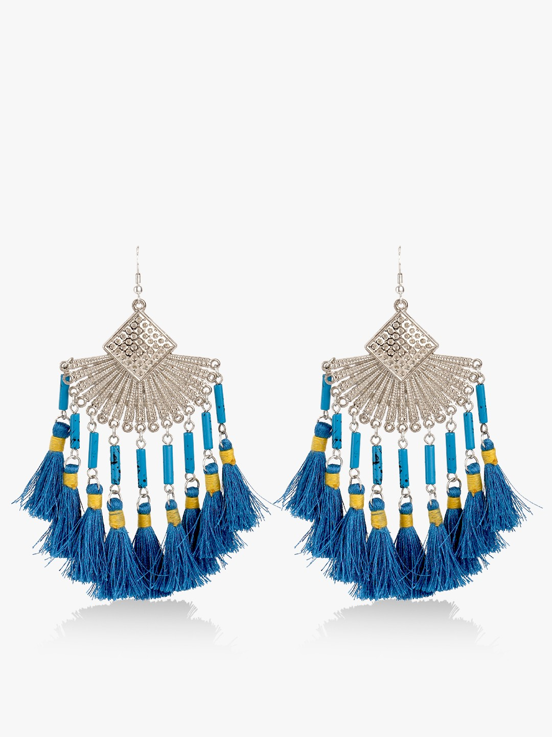 Blueberry Blue Antique Tassel Drop Earrings 1
