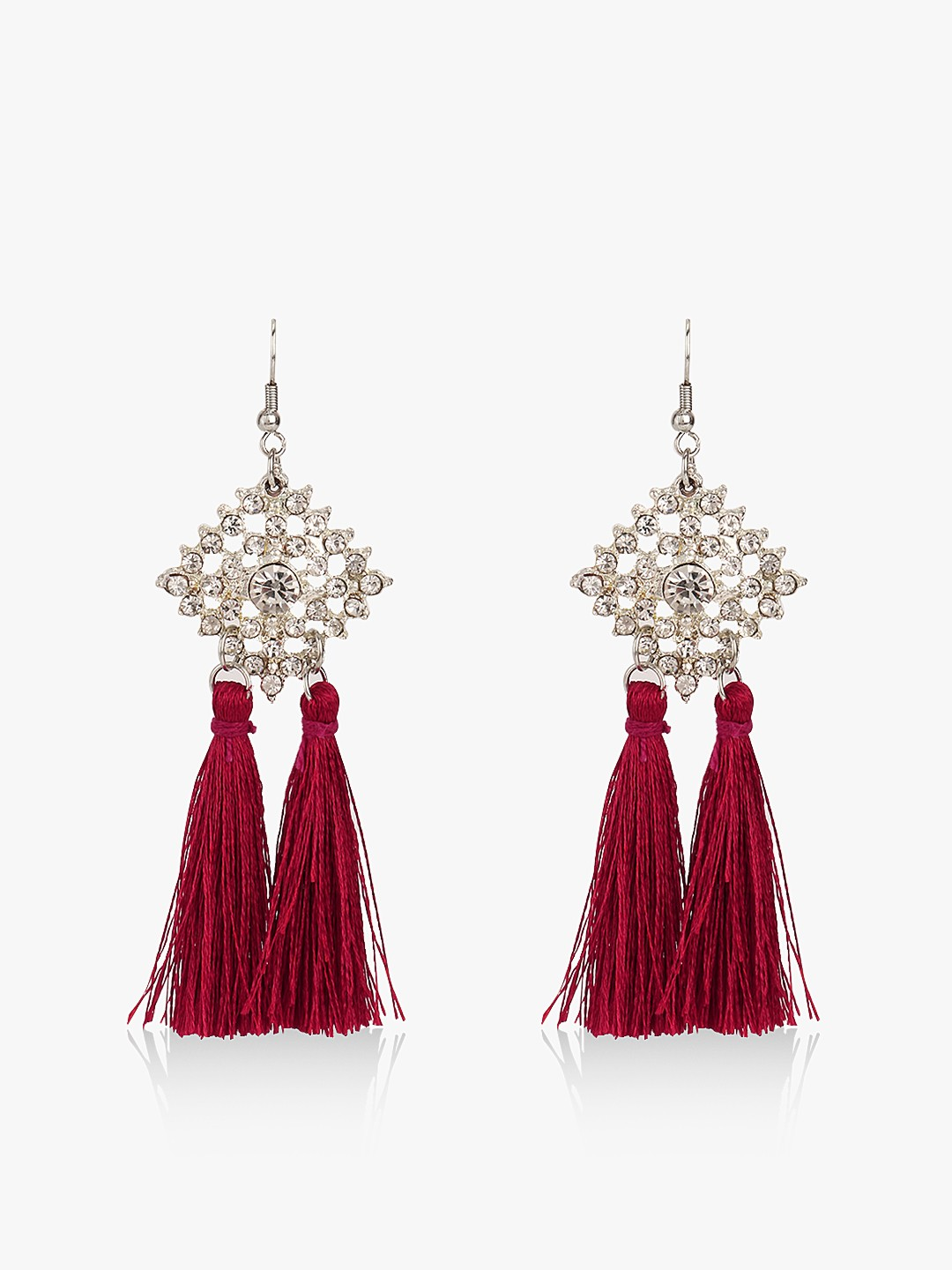 Blueberry Red Diamante Embellished Tassel Drop Earrings 1