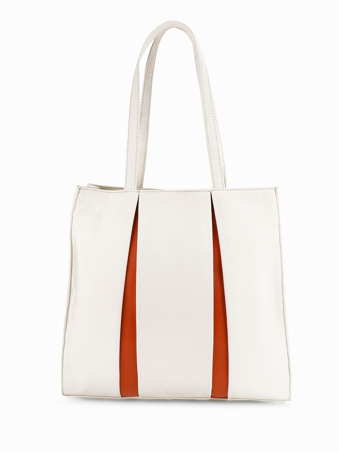 Paris Belle White/Orange Contrast Pleated Tote Bag 1