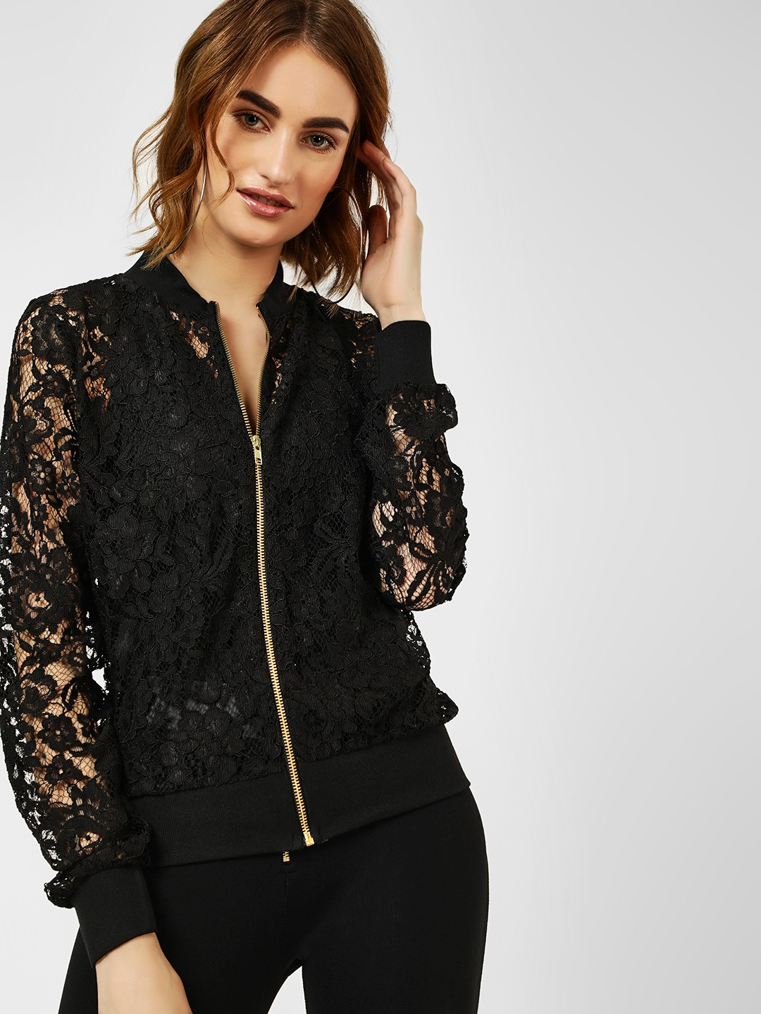 All Good Things Black Lace Insert Bomber Jacket 1