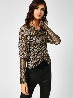 All Good Things Sequin Detail Ruched Top