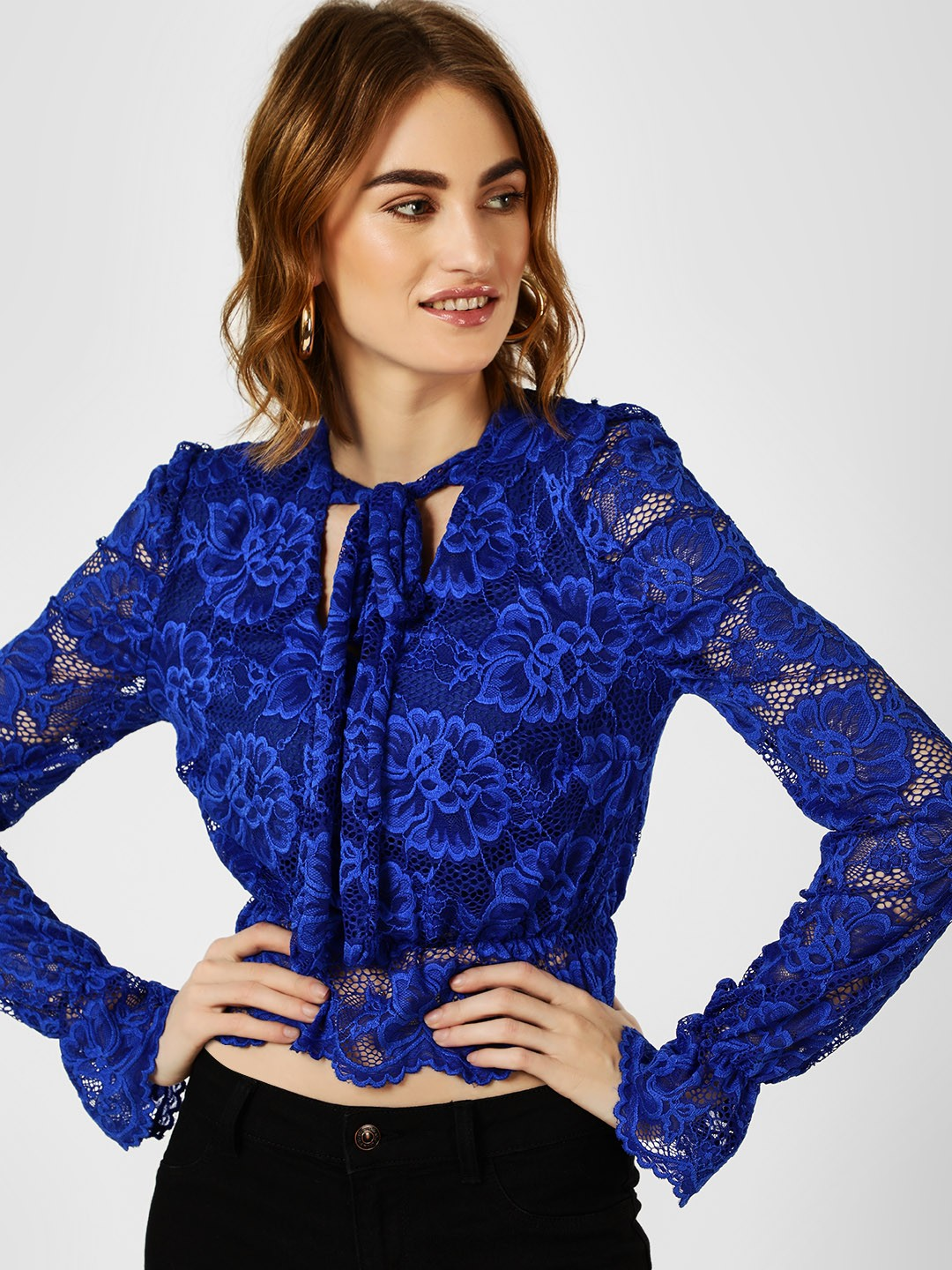 All Good Things Blue Lace Insert Tie Knot Peplum Top 1