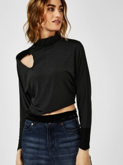 All Good Things Knot Crop Top With Cut Work