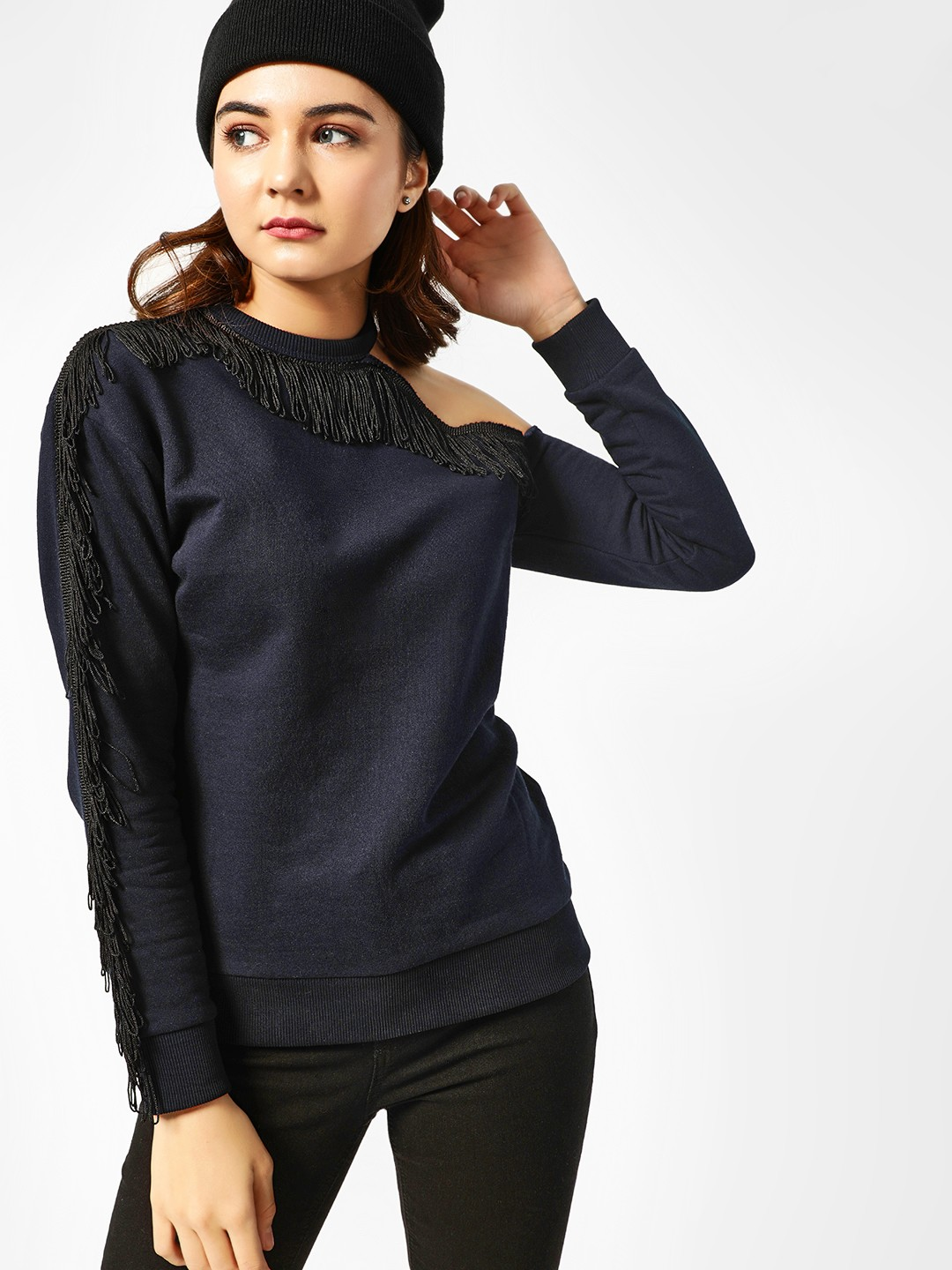 All Good Things Navy One Shoulder Fringed Sweatshirt 1
