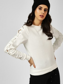 All Good Things Lace-Up Sleeve Sweatshirt