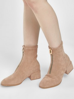 Sole Story Zip-Up Block Heel Ankle Boots