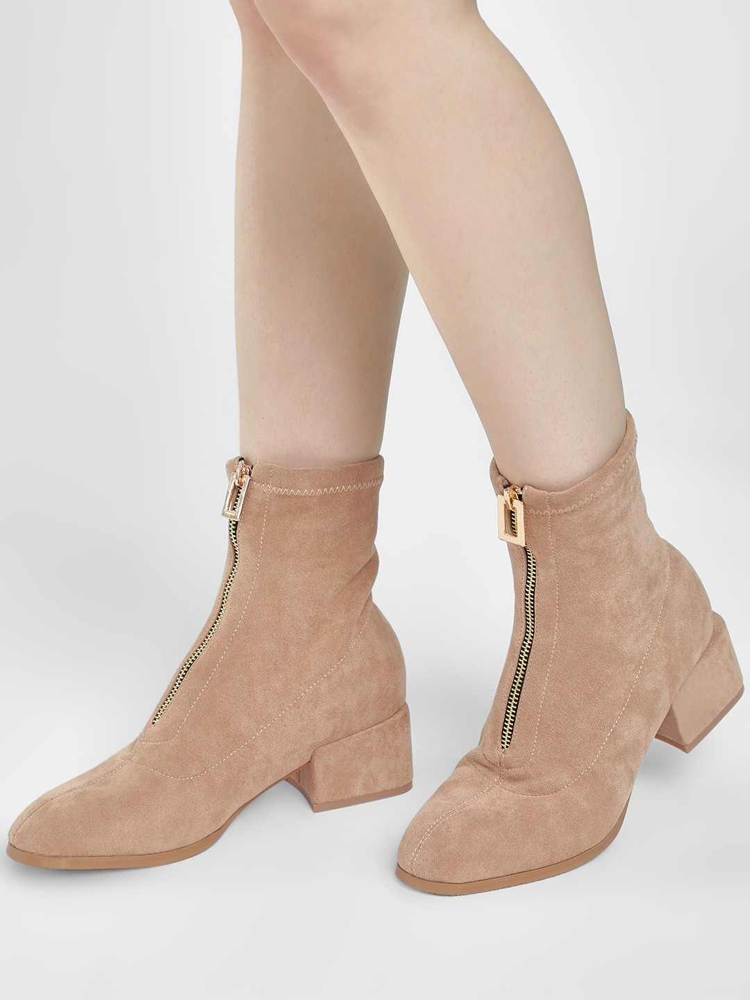 Sole Story Apricot Zip-Up Block Heel Ankle Boots 1
