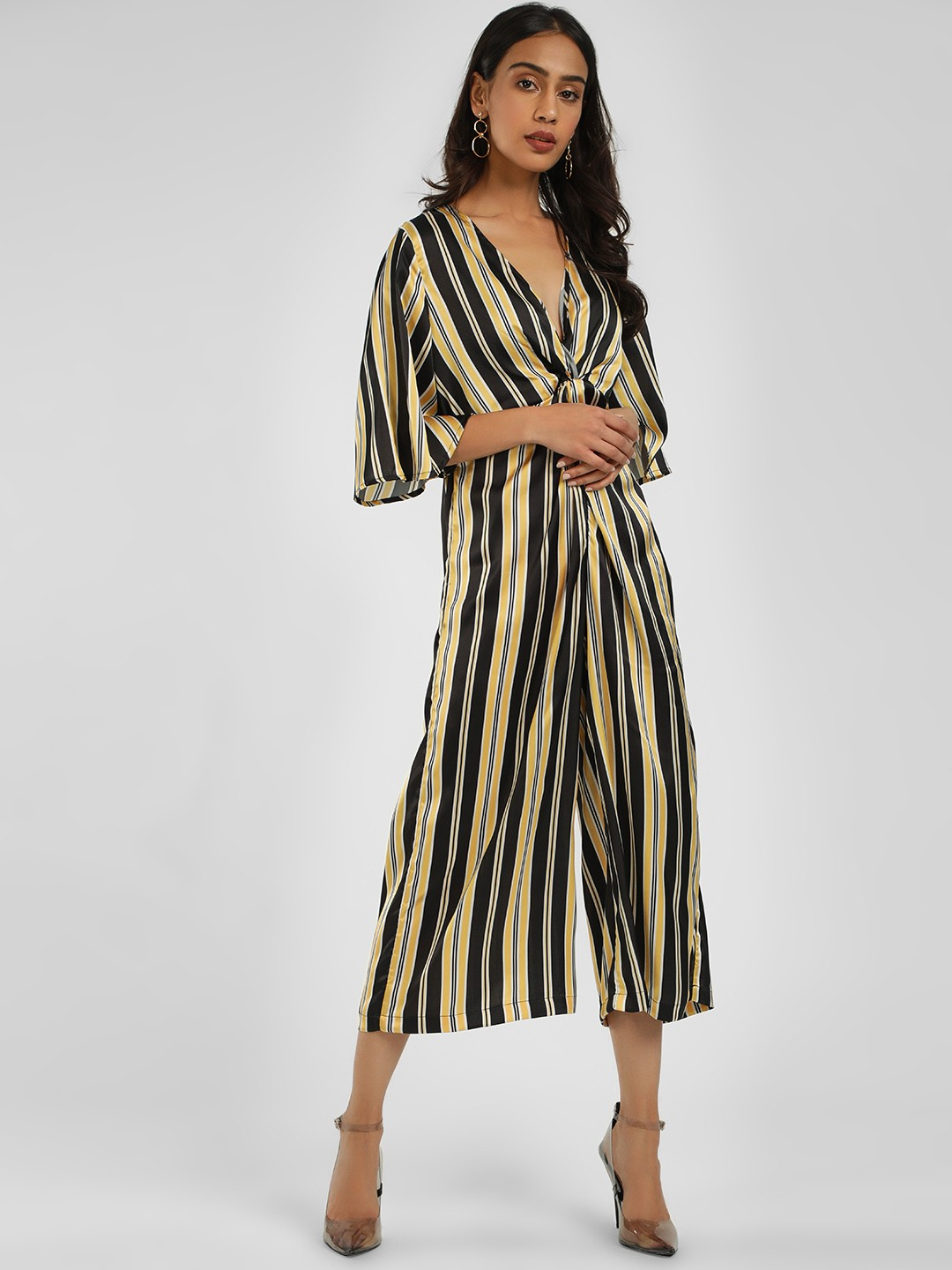 KOOVS Multi Bumble Stripe Twist Knot Jumpsuit 1