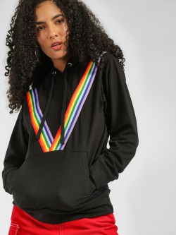 Daisy Street Contrast Front Striped Hoodie