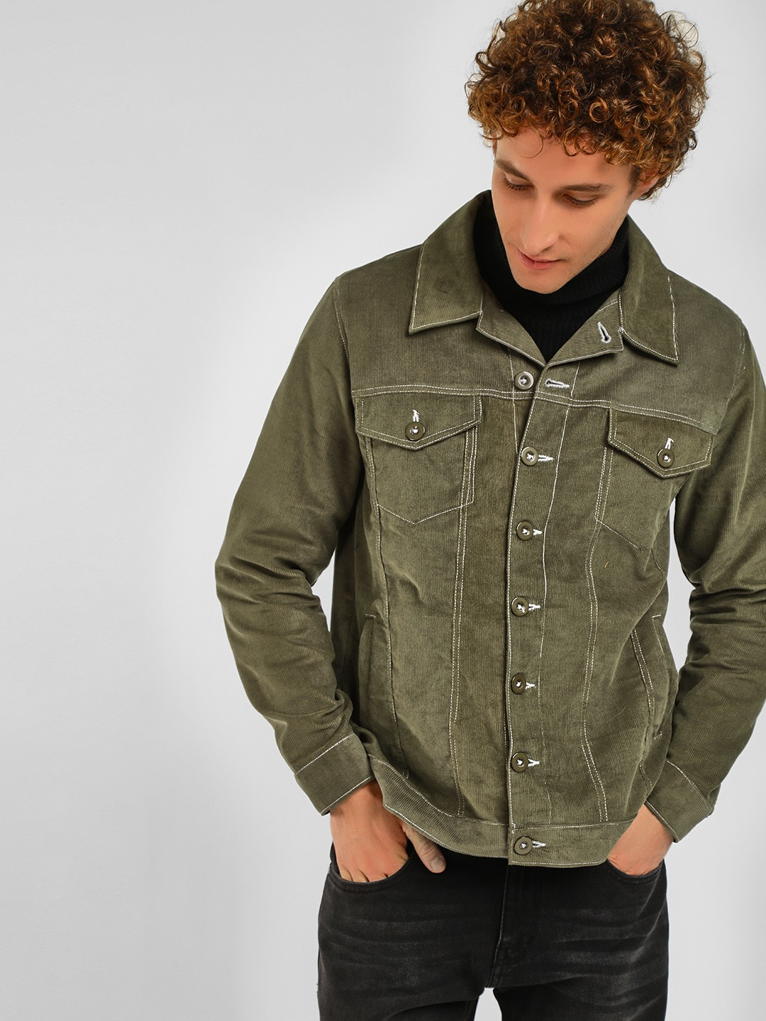Spring Break Olive Corduroy Trucker Jacket 1