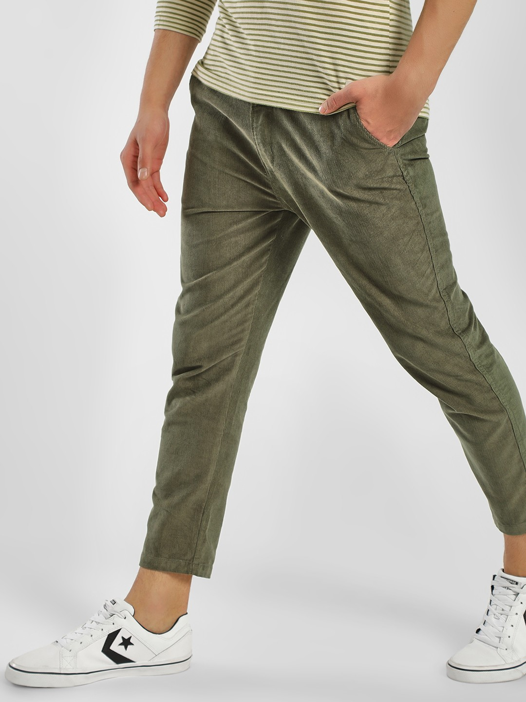Spring Break Olive Corduroy Slim Cropped Fit Trousers 1