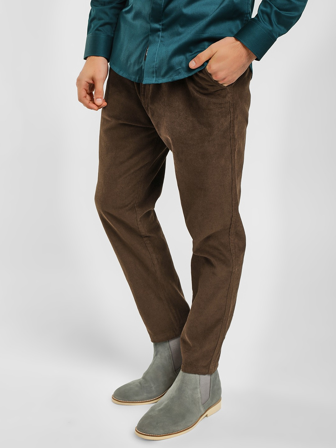 Spring Break Dark Brown Corduroy Slim Fit Cropped Trouser 1