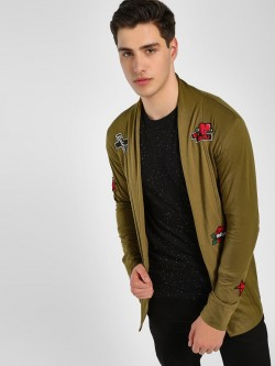 Kultprit Embroidered Badge Front Open Cardigan