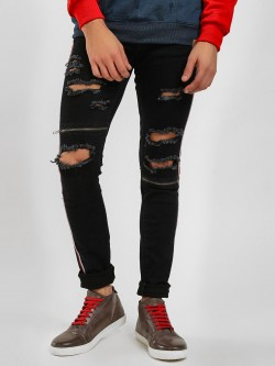 Kultprit Distressed Side Tape Skinny Jeans