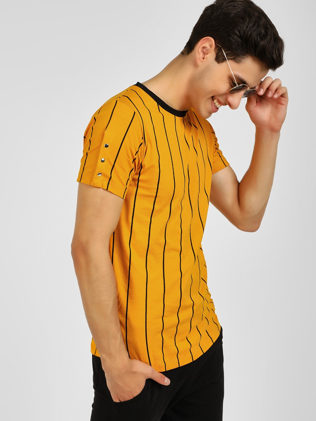 Kultprit Yellow Vertical Stripe Ringer T-Shirt 1