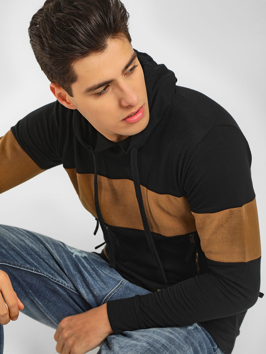 Kultprit Black Colour Block Cut And Sew Hoodie 1
