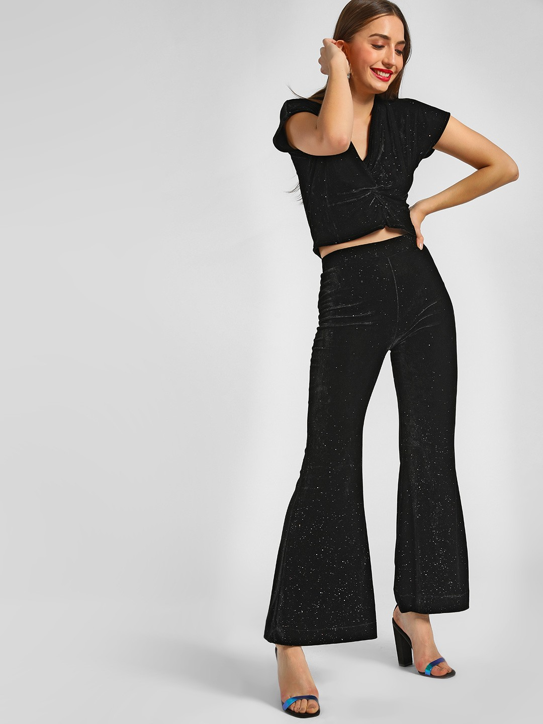 KOOVS Black Velvet Flare Trousers 1