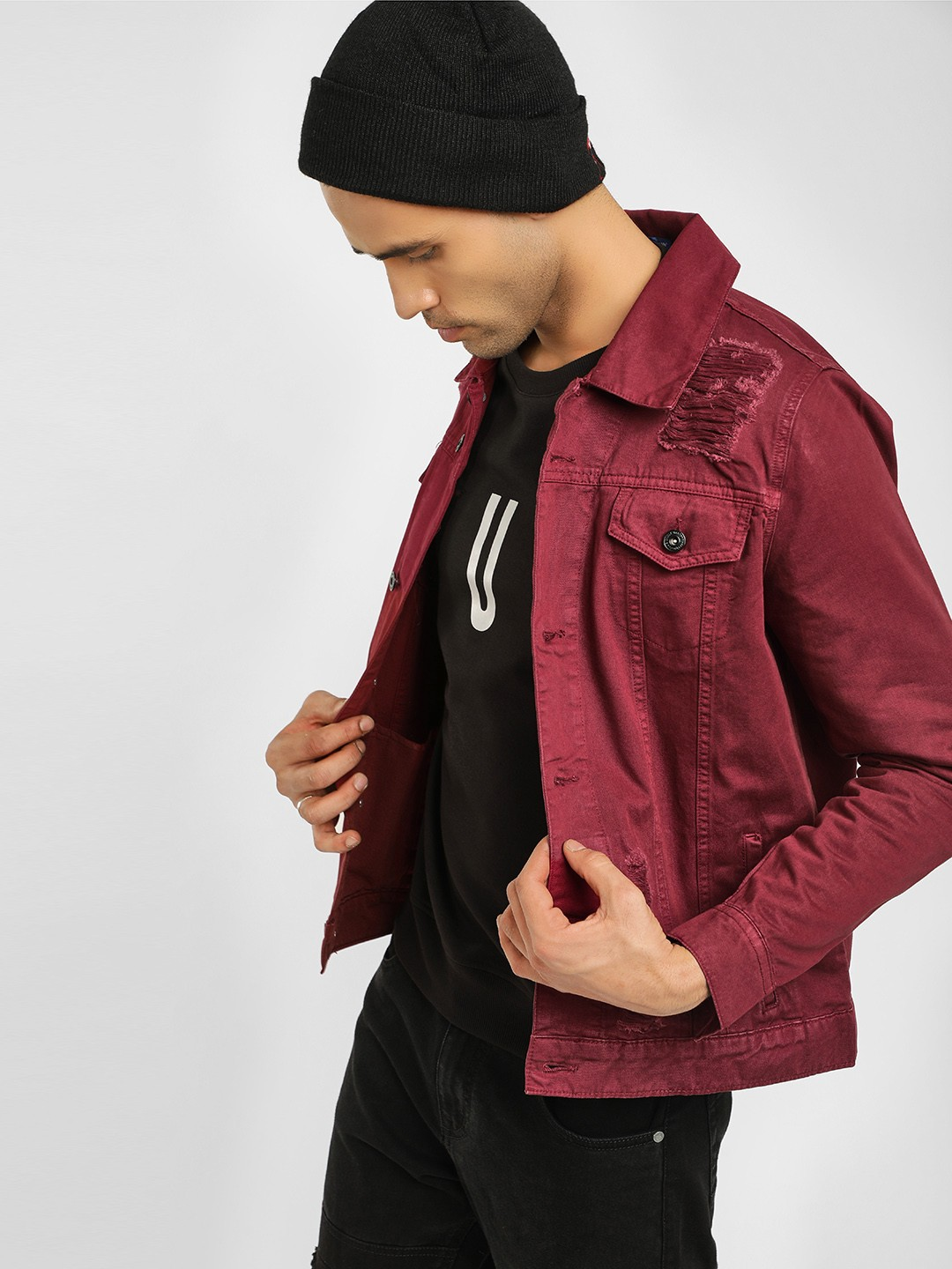 Blue Saint Maroon Overdyed Distressed Jacket 1