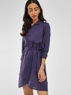 KOOVS Cold Shoulder Shirt Dress