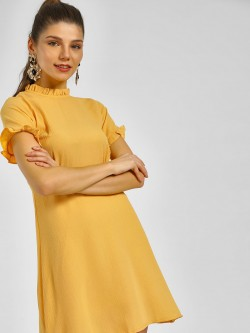 KOOVS Mandarin Collar Shift Dress