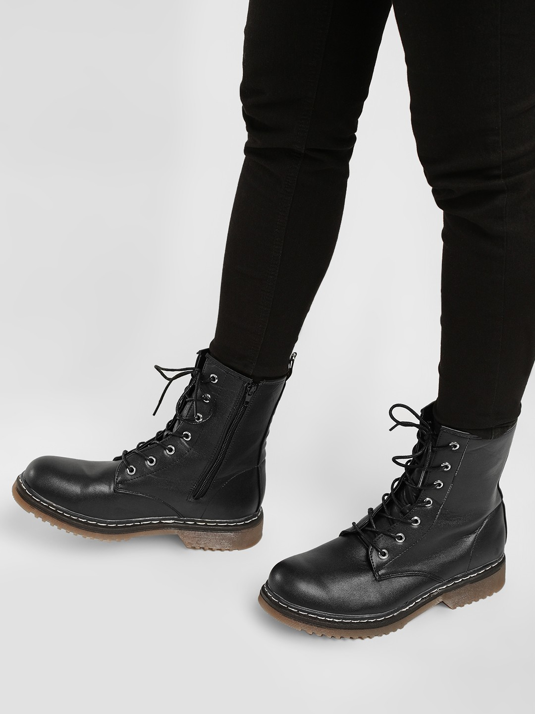 Truffle Collection Black Casual Combat Boots 1