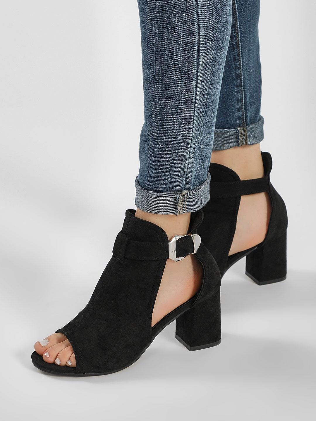 Truffle Collection Black Peep-Toe Ankle Boots 1