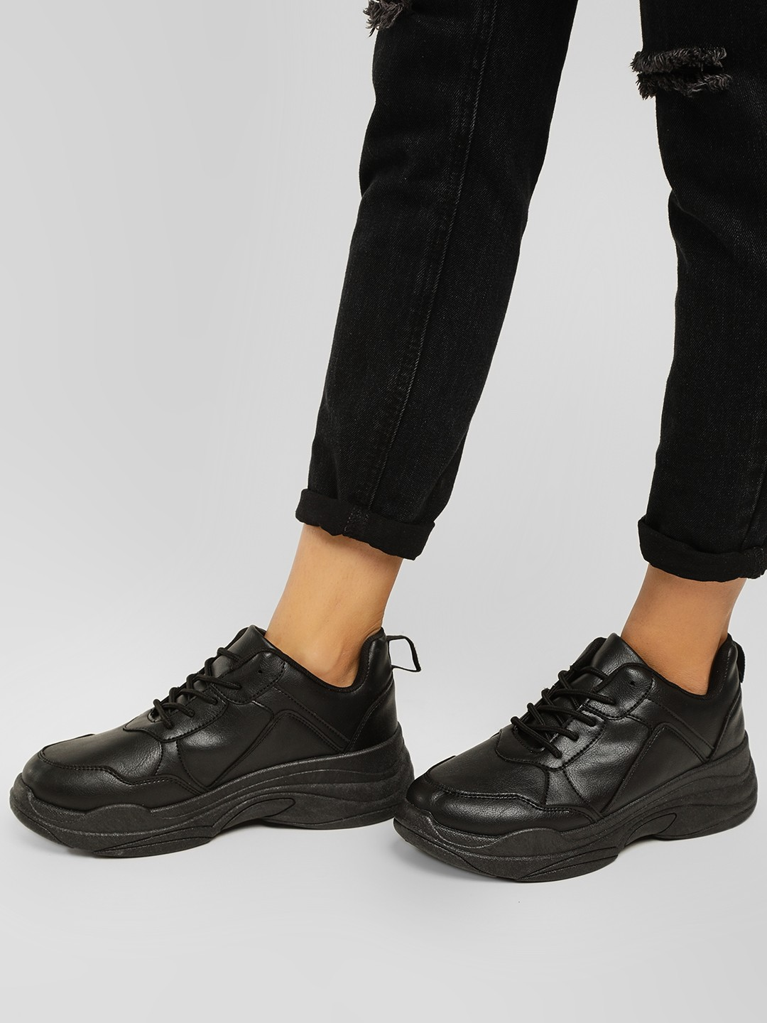 Truffle Collection Black Chunky Sole Trainers 1