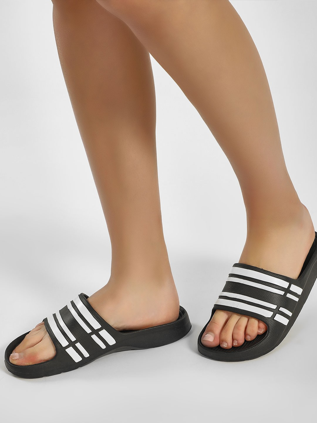 Truffle Collection Black Striped Pool Sliders 1