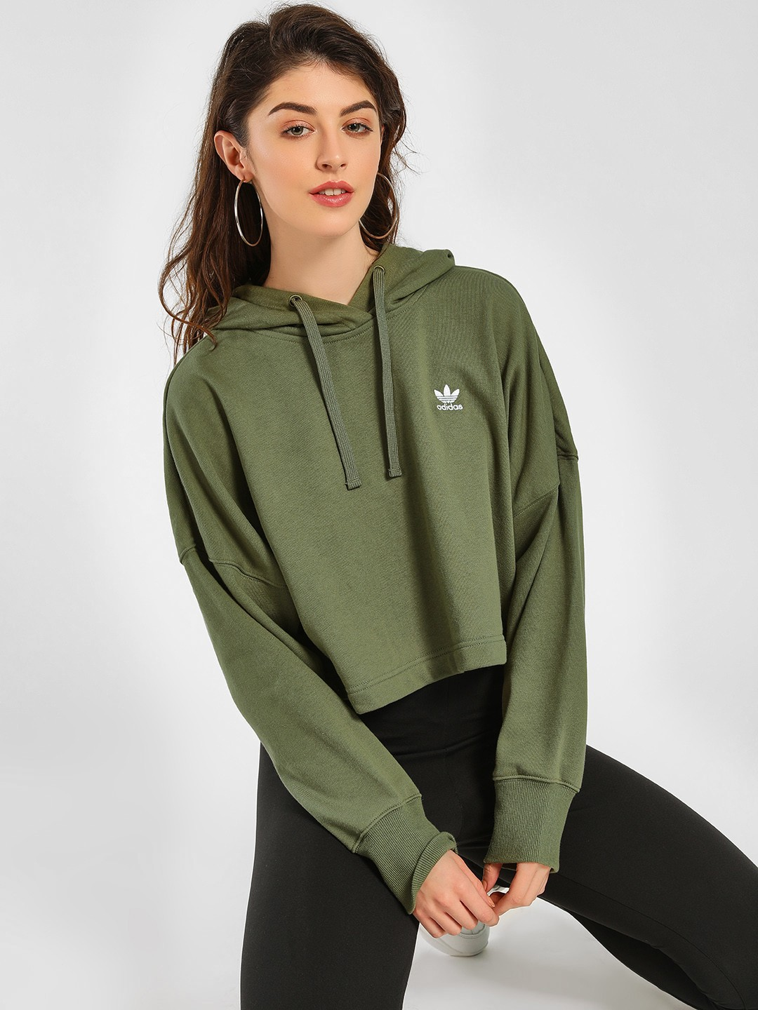 Adidas Originals Green Styling Complements Cropped Hoodie 1