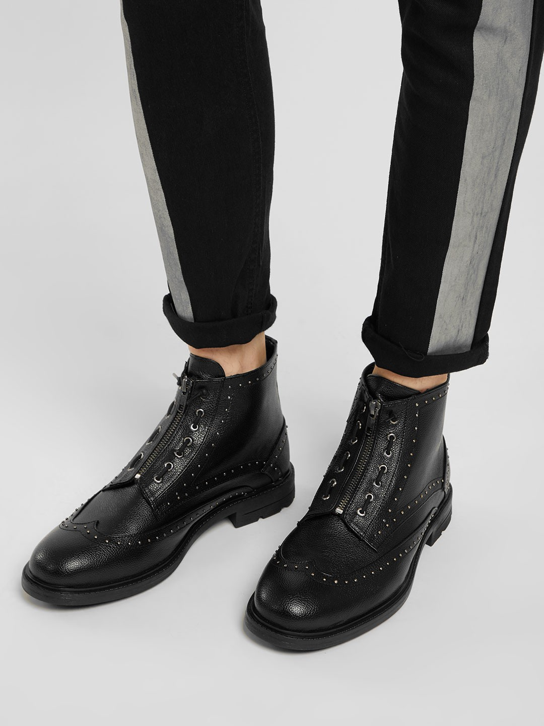 KOOVS Black Front Zipper Studded Boots 1