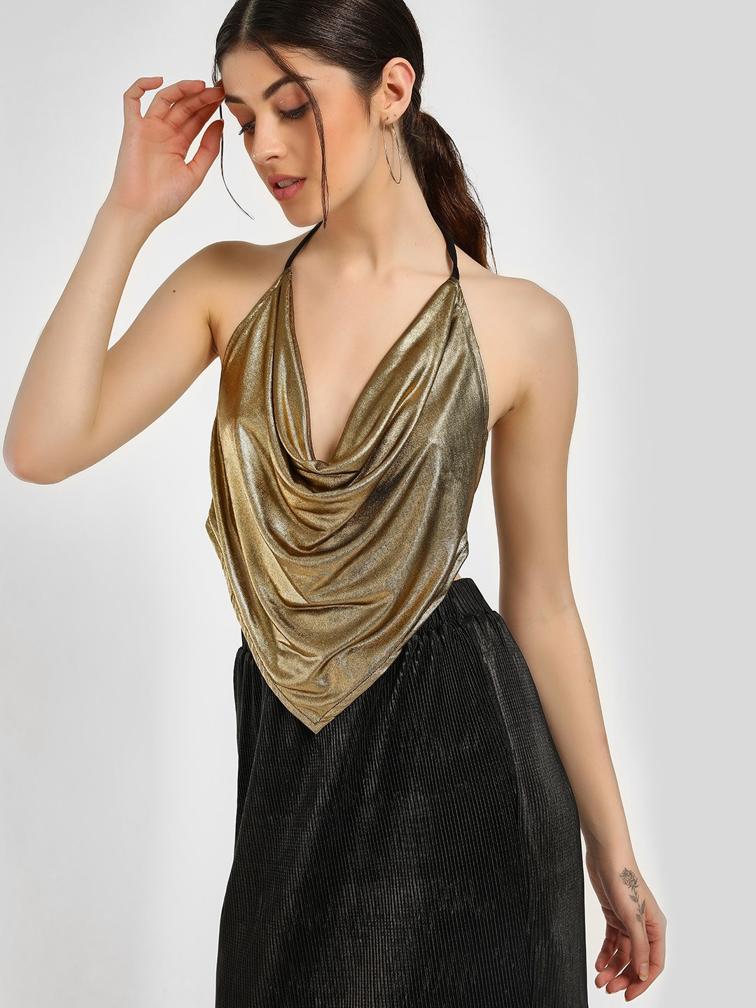 KOOVS Gold Metallic Handkerchief Crop Top 1