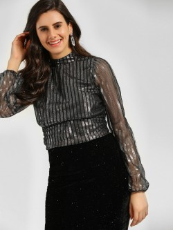 KOOVS Metallic Striped Tie Back Blouse