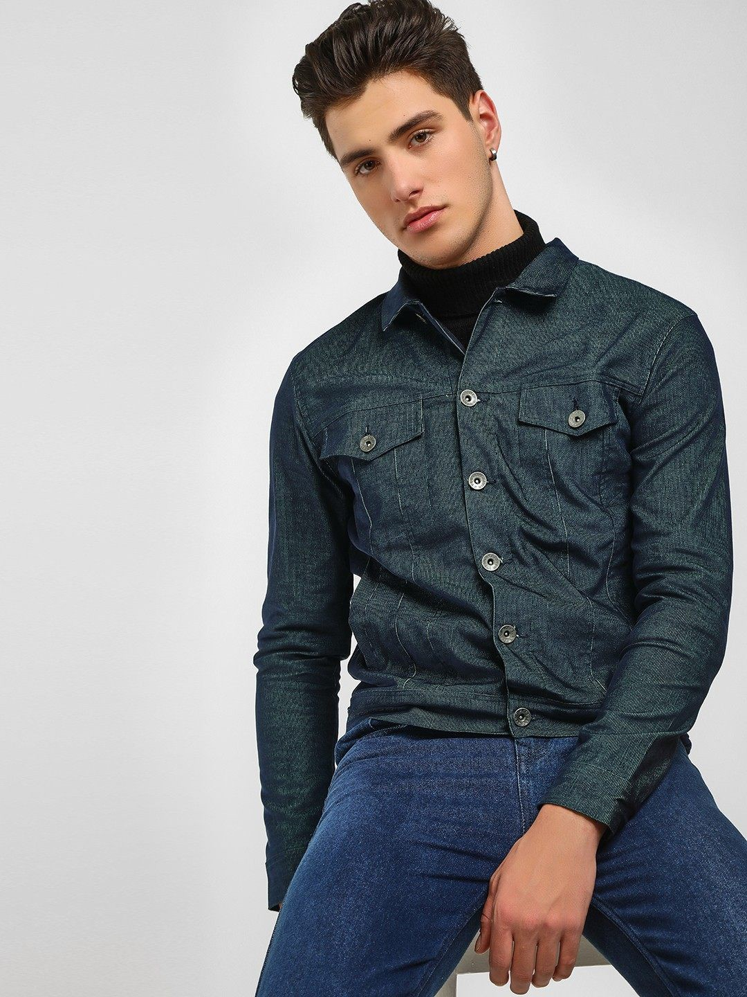 KOOVS Blue Corduroy Cropped Trucker Jacket 1