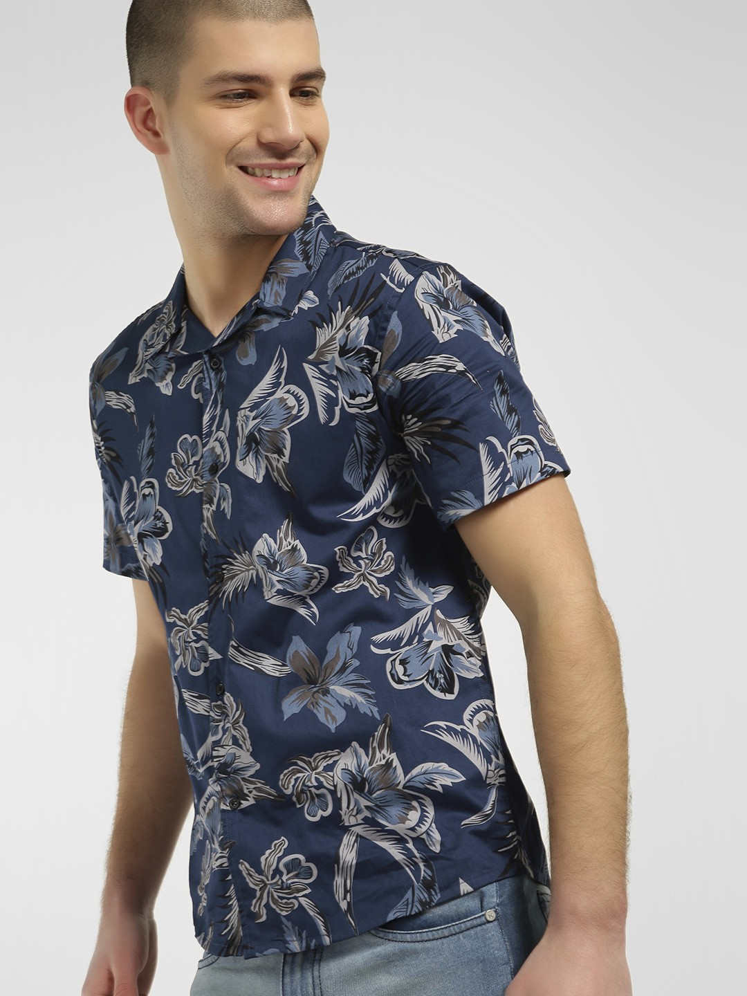 KOOVS Multi Floral Print Cuban Collar Shirt 1