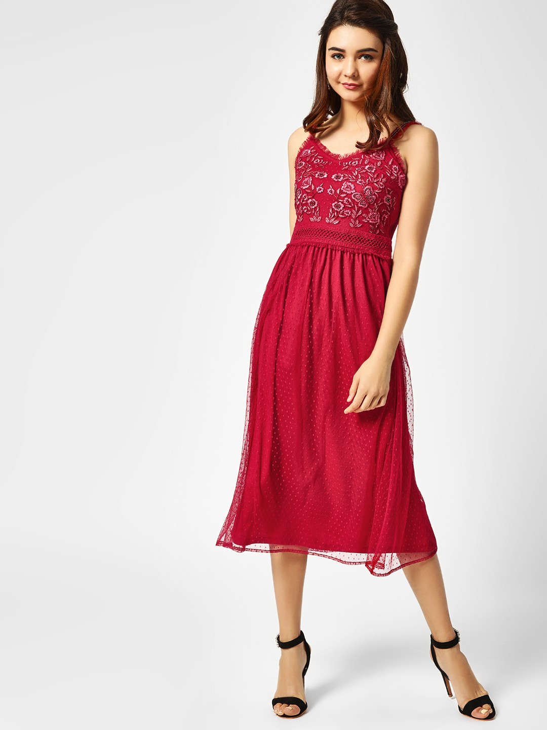 Cover Story Red Embroidered Yoke Midi Dress 1