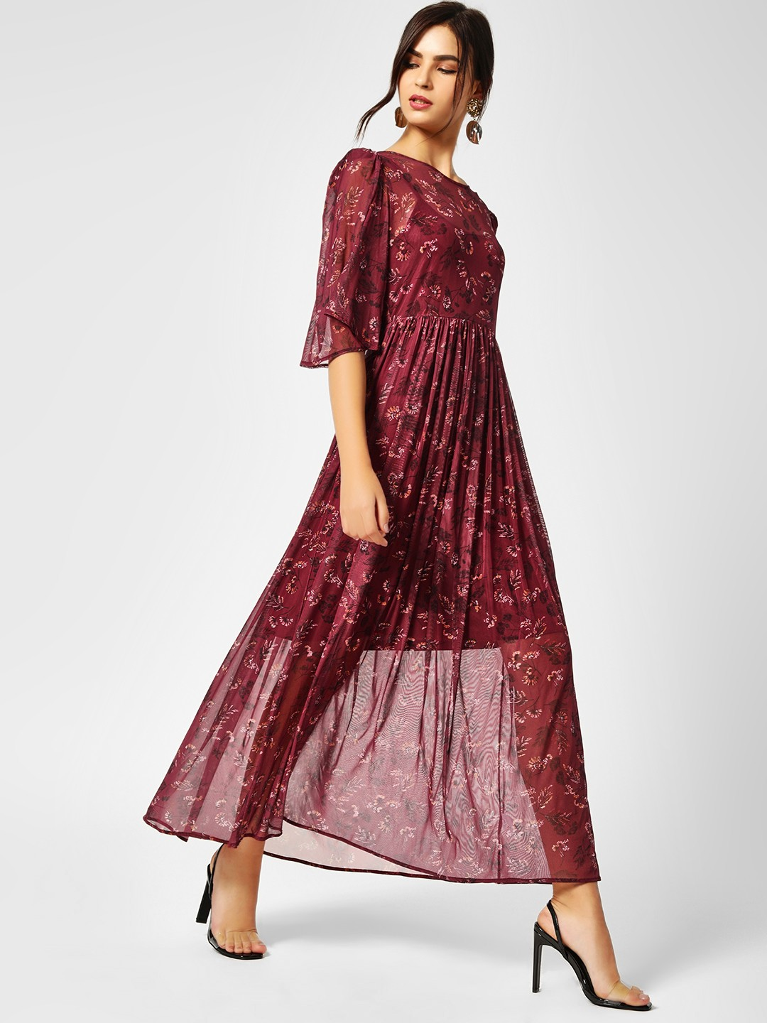 Cover Story Mauve Floral Print Maxi Dress 1