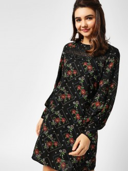 Cover Story Floral Print Lace Detail Dress