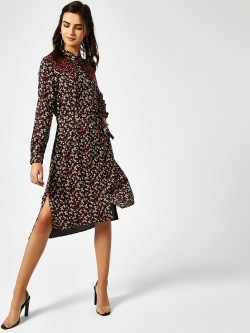 Cover Story Contrast Floral Yoke Shirt Dress