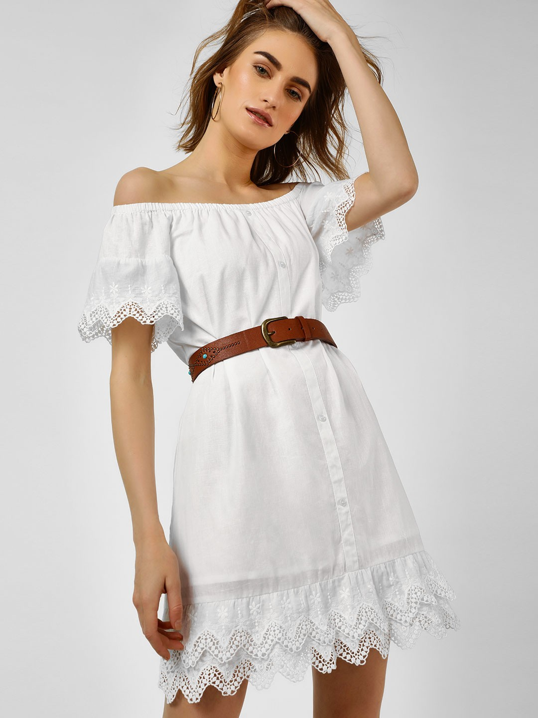 Cover Story White Broderie Detail Shirt Dress 1