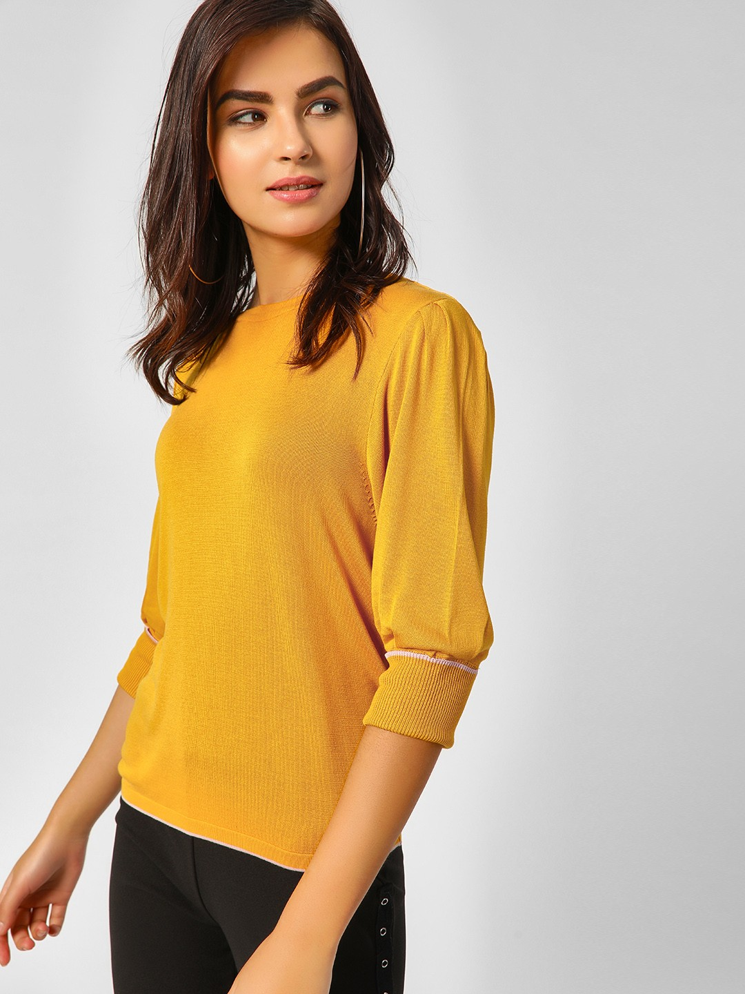 Cover Story Mustard Puffed Sleeve Ribbed Pullover 1