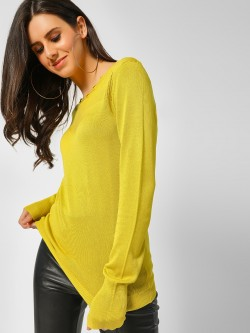 Cover Story Scalloped Neck Ribbed Pullover