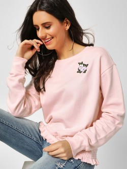 Cover Story Casual Embroidered Patchwork Pullover