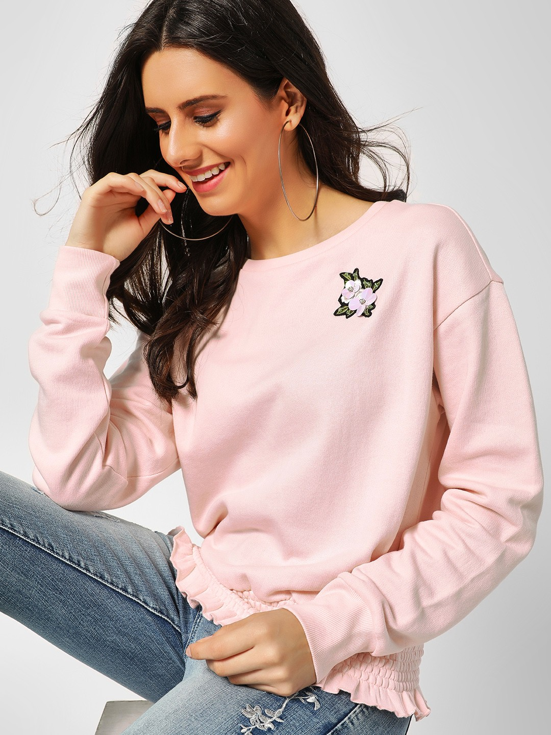 Cover Story Pink Casual Embroidered Patchwork Pullover 1
