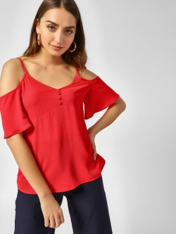 Cover Story V-Neck Cold Shoulder Top