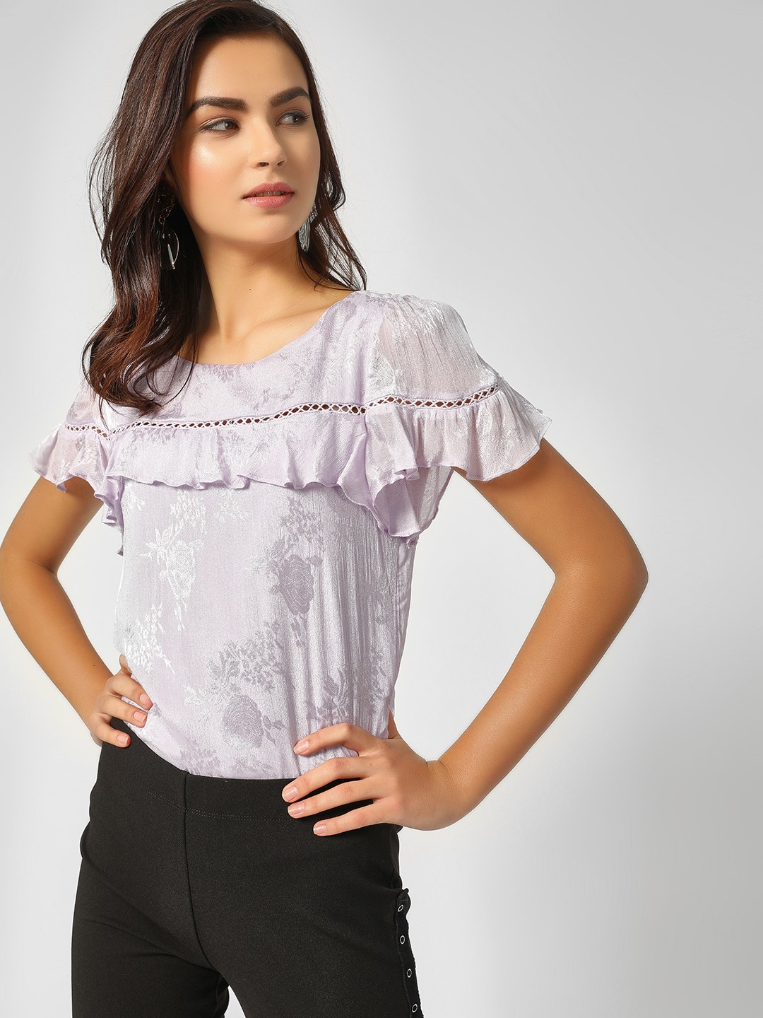 Cover Story Lilac Floral Print Lace Detail Top 1