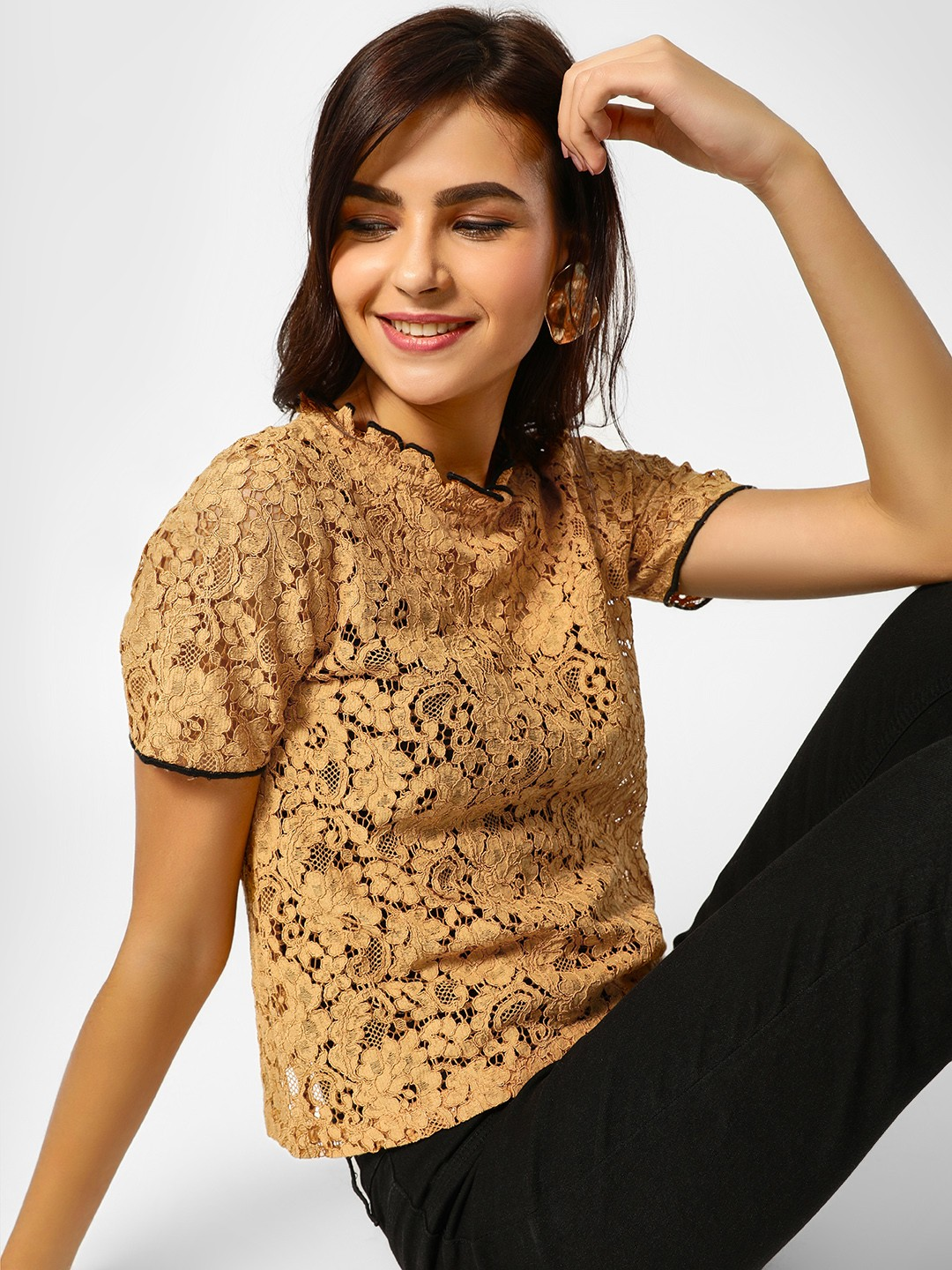 Cover Story Gold Contrast Border Lace Blouse 1