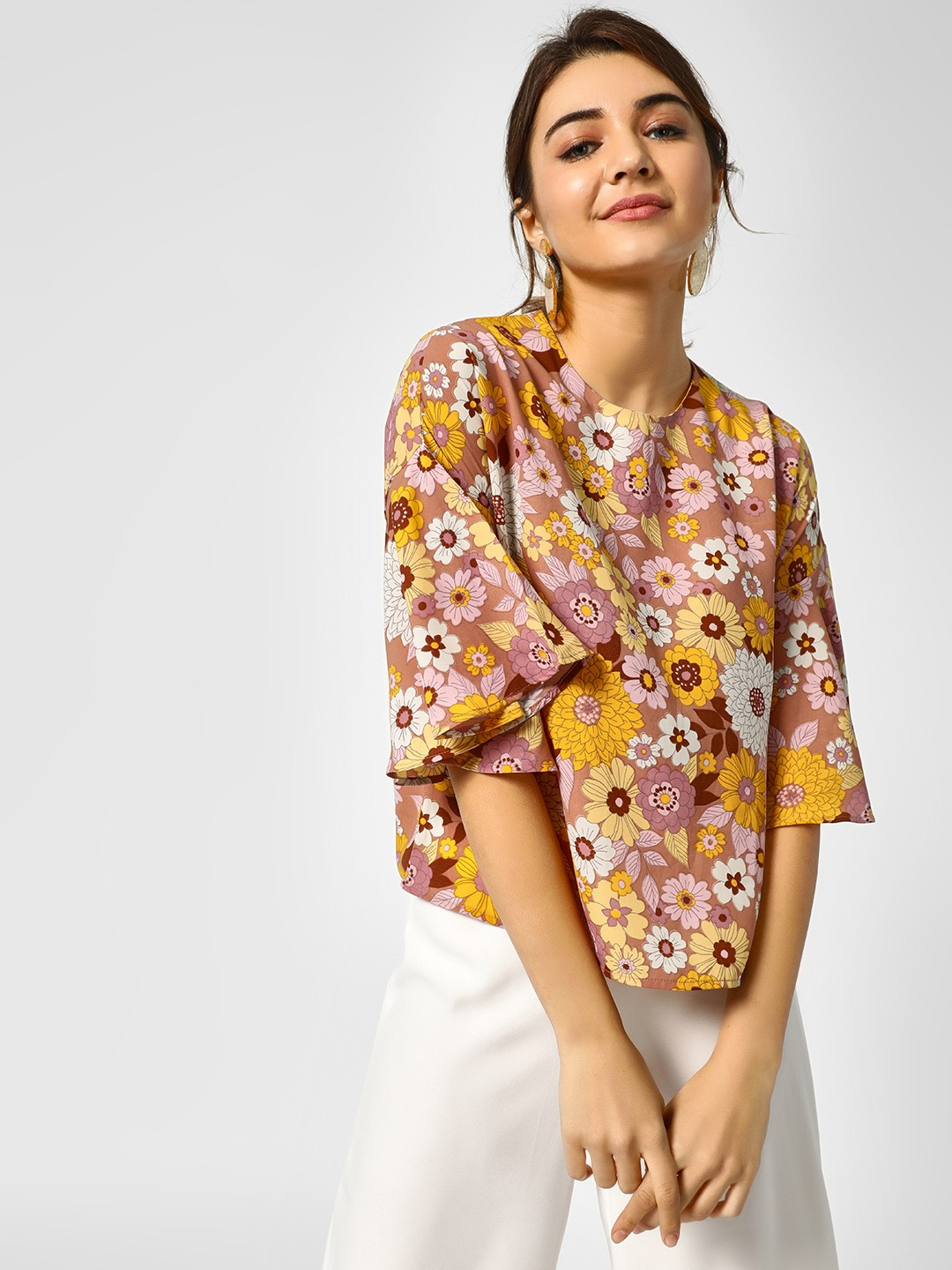 Cover Story Multi Floral Print Bell Sleeves Blouse 1
